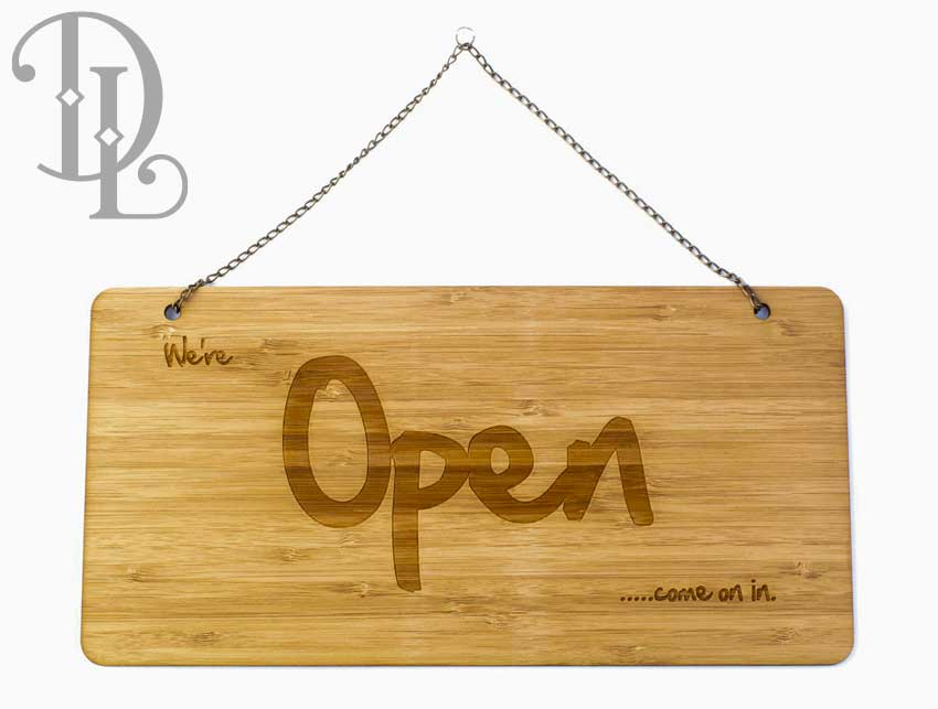 Casual style 'Open' door signage in bamboo