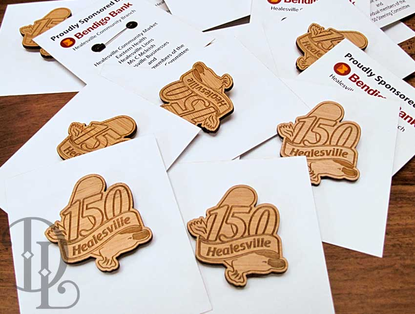 Custom Laser Engraved Jewellery - Bamboo Broaches